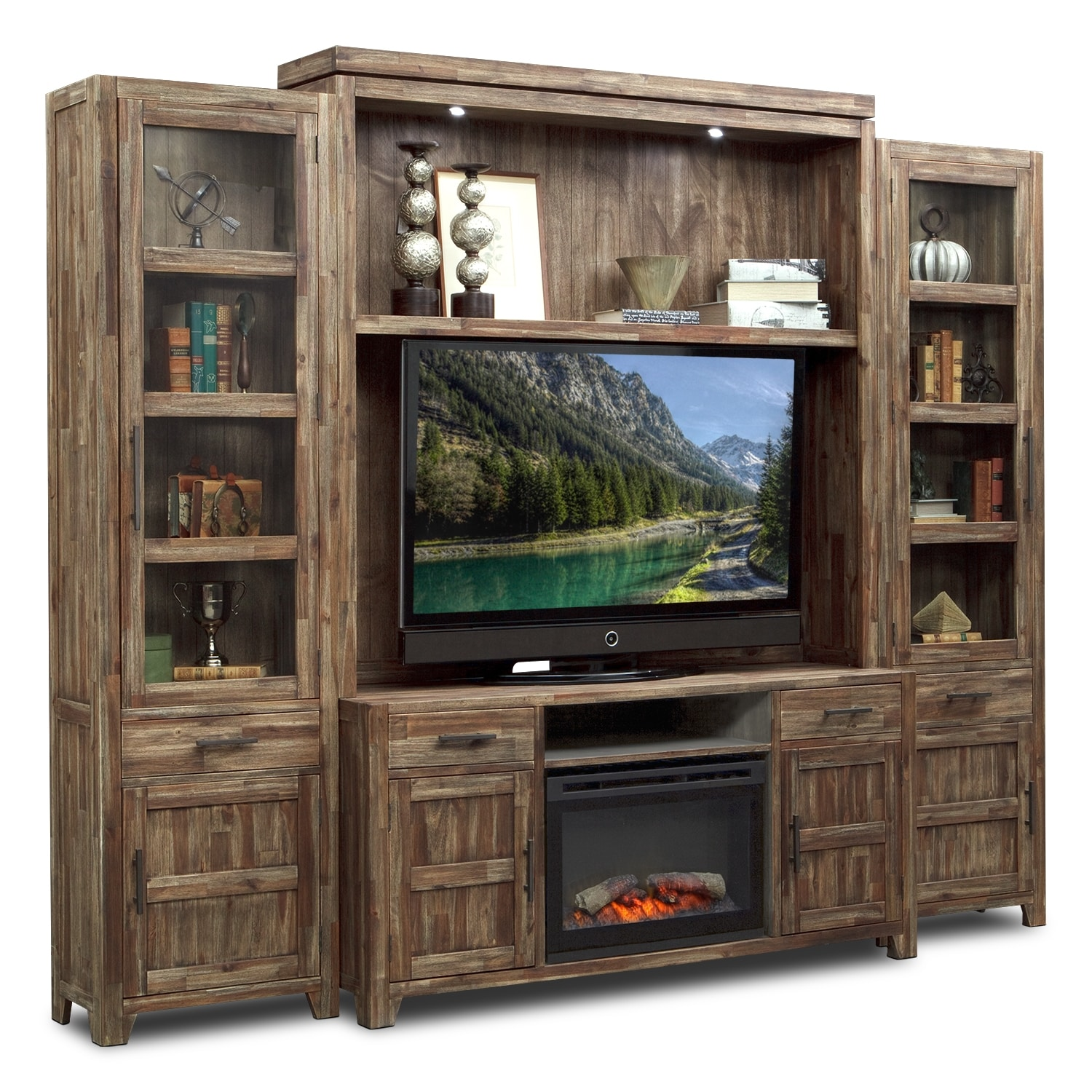 Entertainment Furniture - Brentwood 5 Pc. Entertainment Wall Unit with Traditional Fireplace