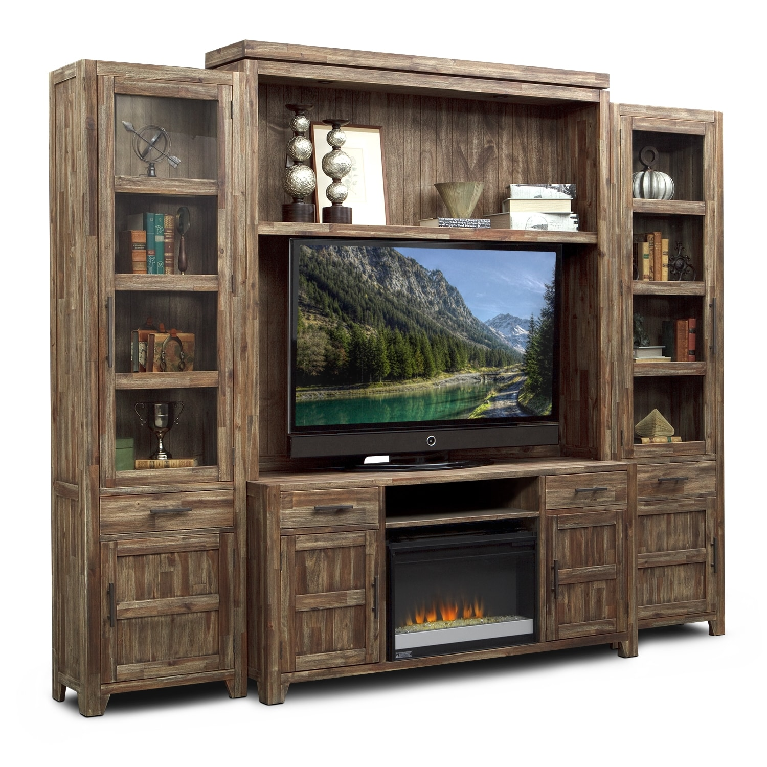 Entertainment Furniture - Brentwood 5 Pc. Entertainment Wall Unit with Contemporary Fireplace
