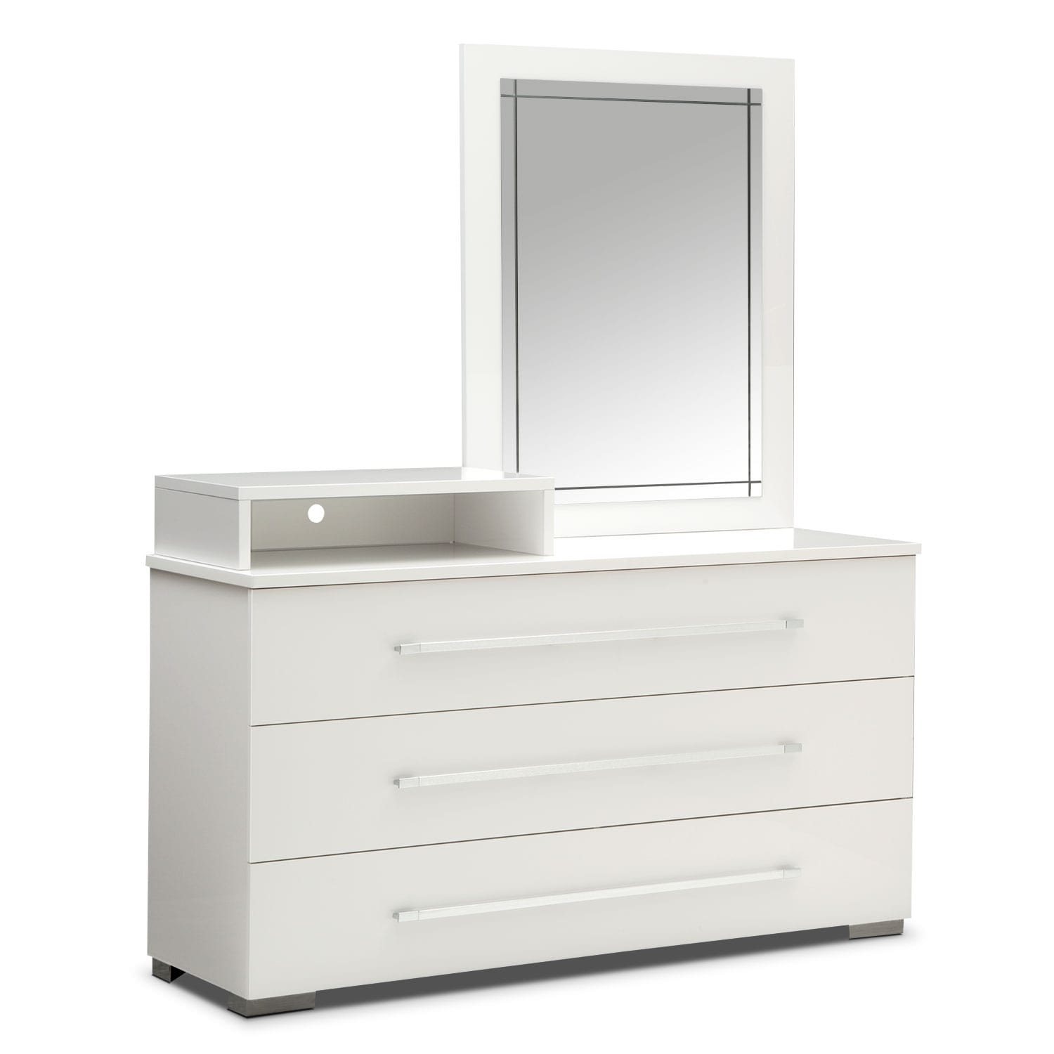 Bedroom Furniture - Dimora White Dresser with Deck & Mirror