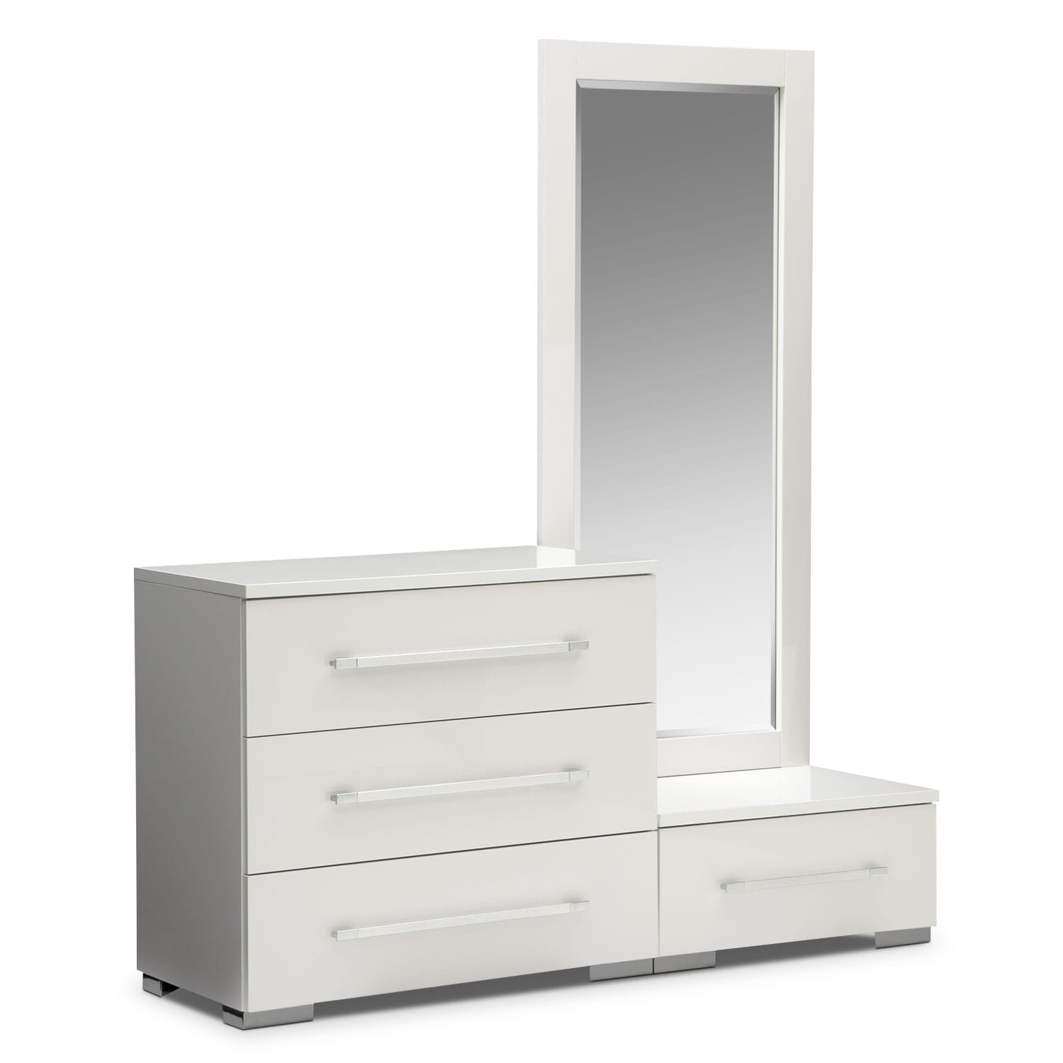 Bedroom Furniture - Dimora White Dressing Dresser & Dressing Mirror with Step