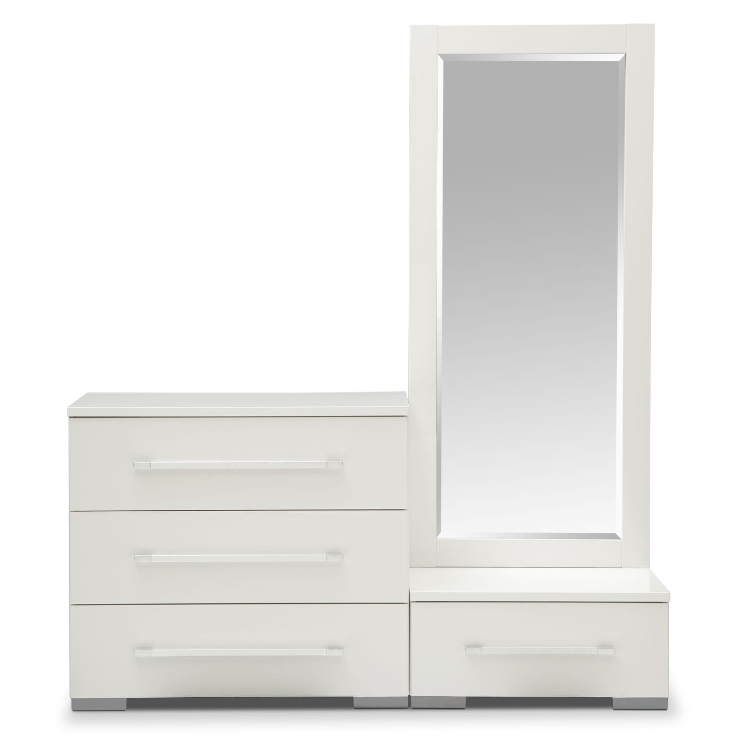 dimora dressing dresser and dressing mirror with step white value city furniture and mattresses. Black Bedroom Furniture Sets. Home Design Ideas