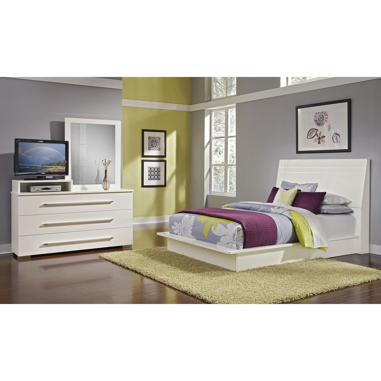 Bedroom Furniture - Dimora 5-Piece Queen Panel Bedroom Set with Media Dresser - White