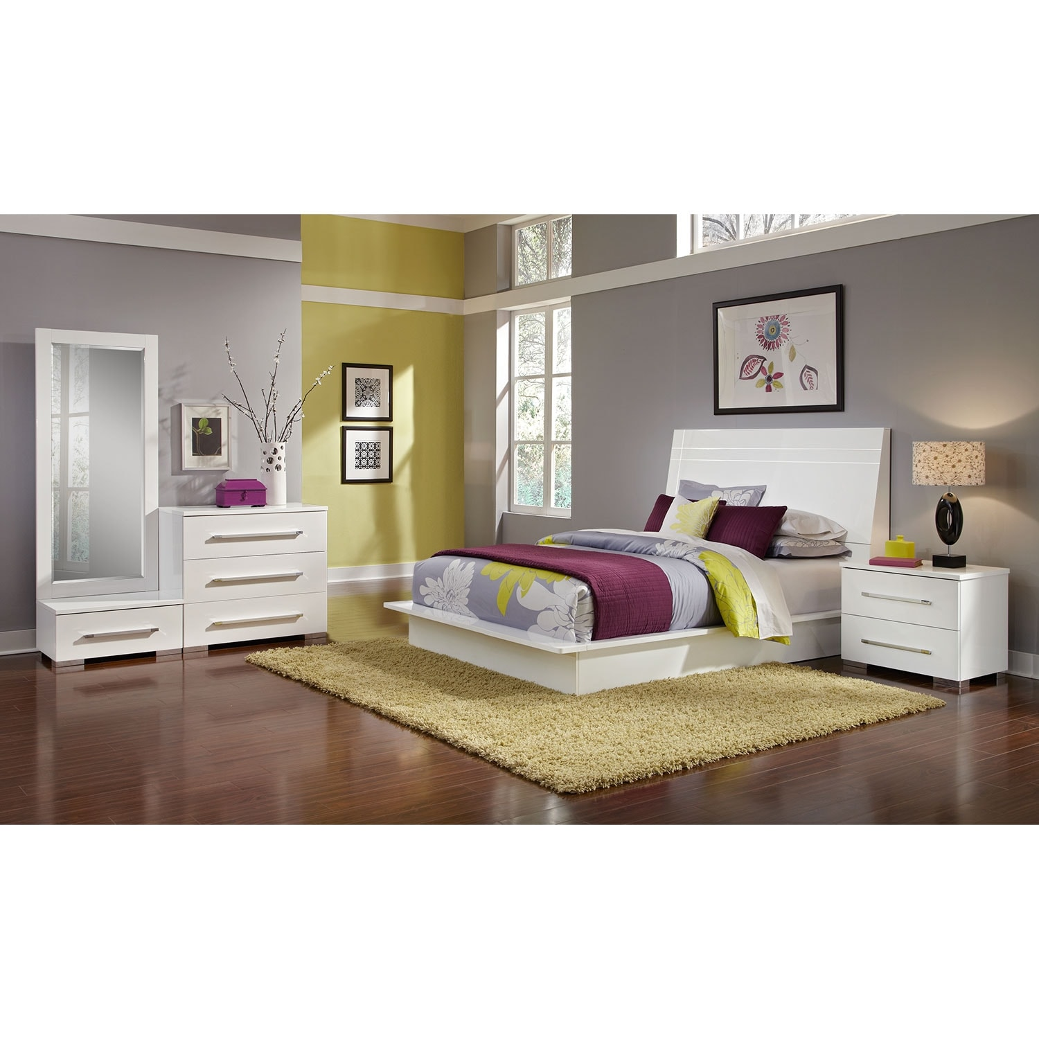 Dimora 5 Piece Queen Panel Bedroom Set With Media Dresser: Dimora 6-Piece Queen Panel Bedroom Set - White