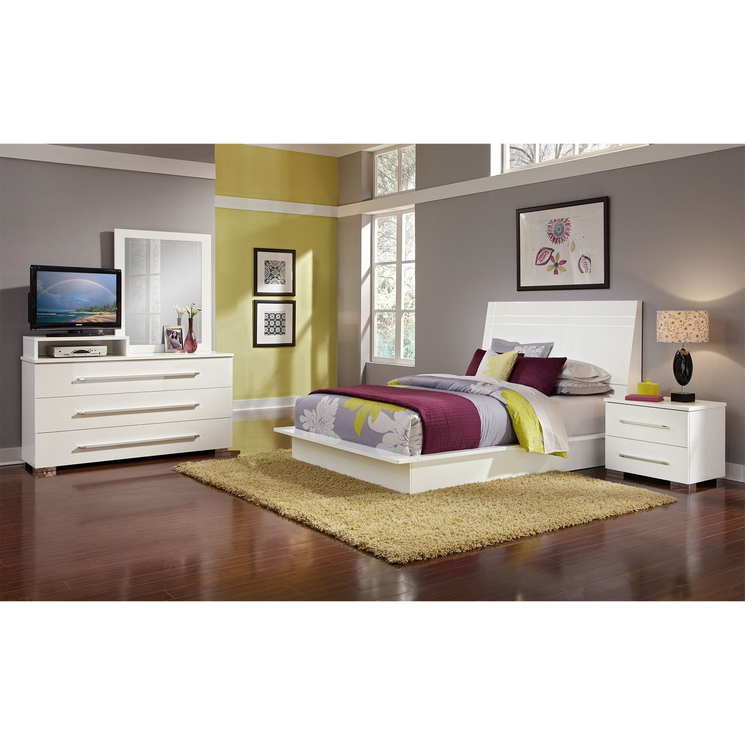 Bedroom Furniture - Dimora 6-Piece King Panel Bedroom Set with Media Dresser- White