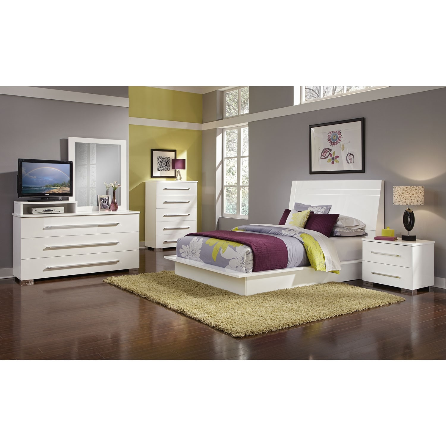 Dimora 7-Piece Queen Panel Bedroom Set with Media Dresser - White