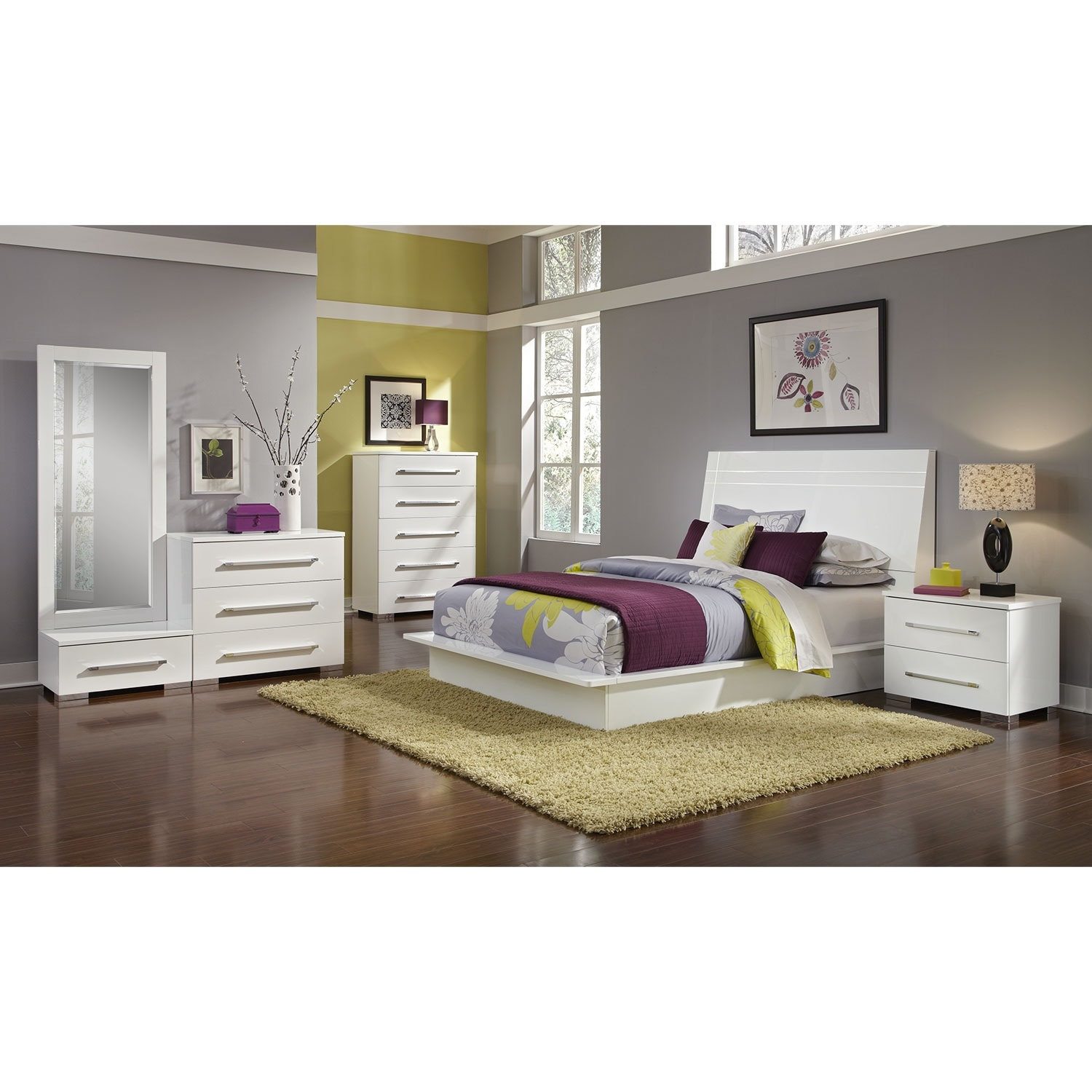 Bedroom Furniture - Dimora 7-Piece King Panel Bedroom Set - White