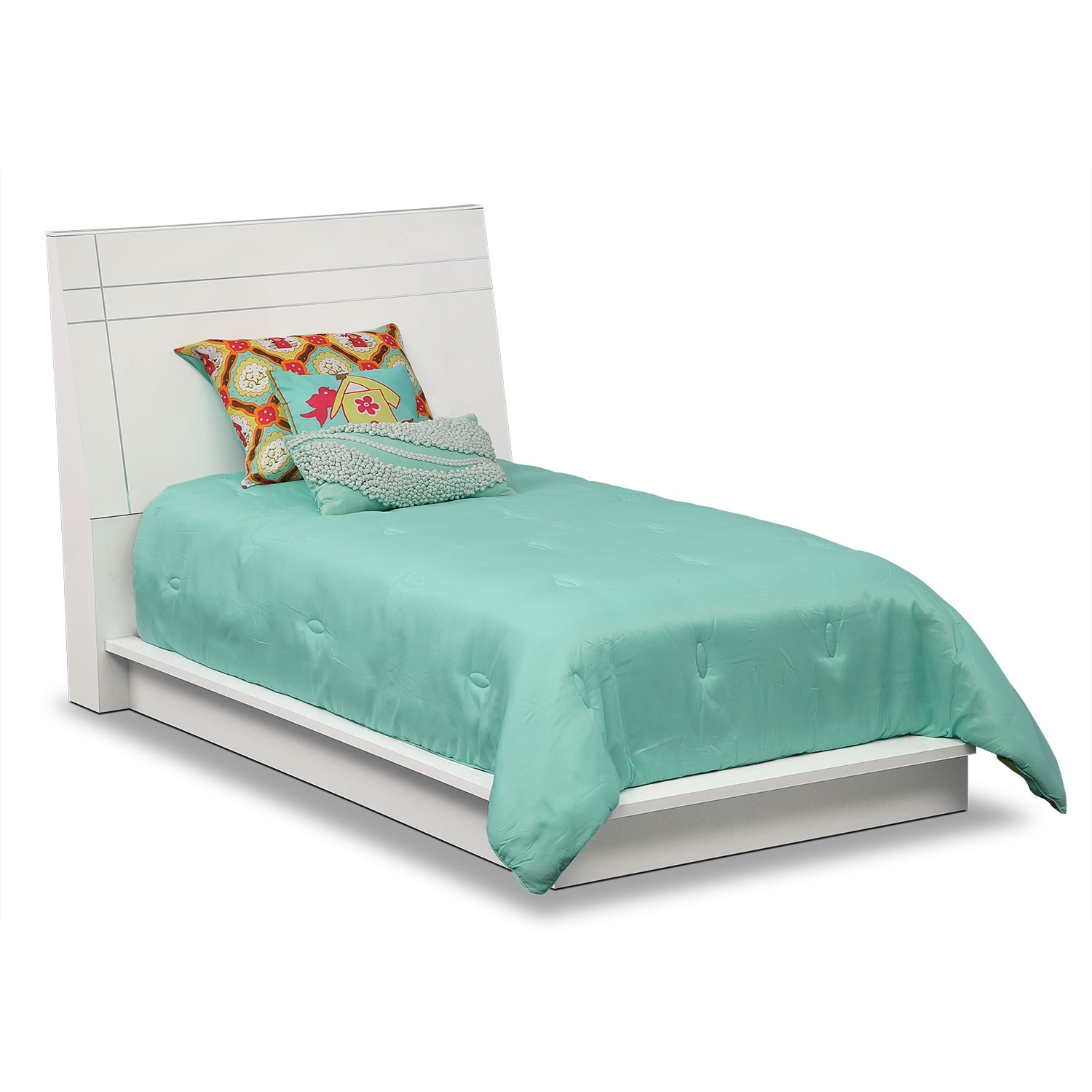 Dimora Twin Panel Bed - White