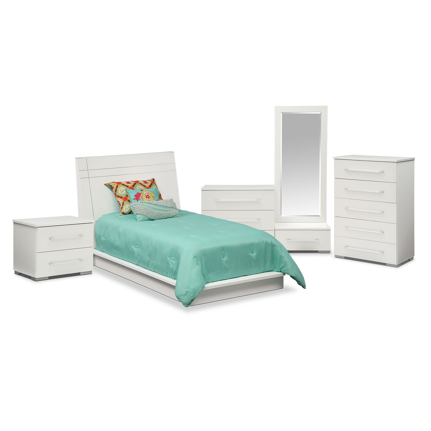 Dimora 7-Piece Twin Panel Bedroom Set - White