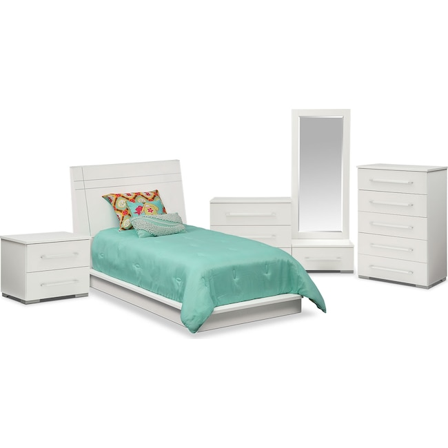 Kids Furniture - Dimora 7-Piece Twin Panel Bedroom Set - White