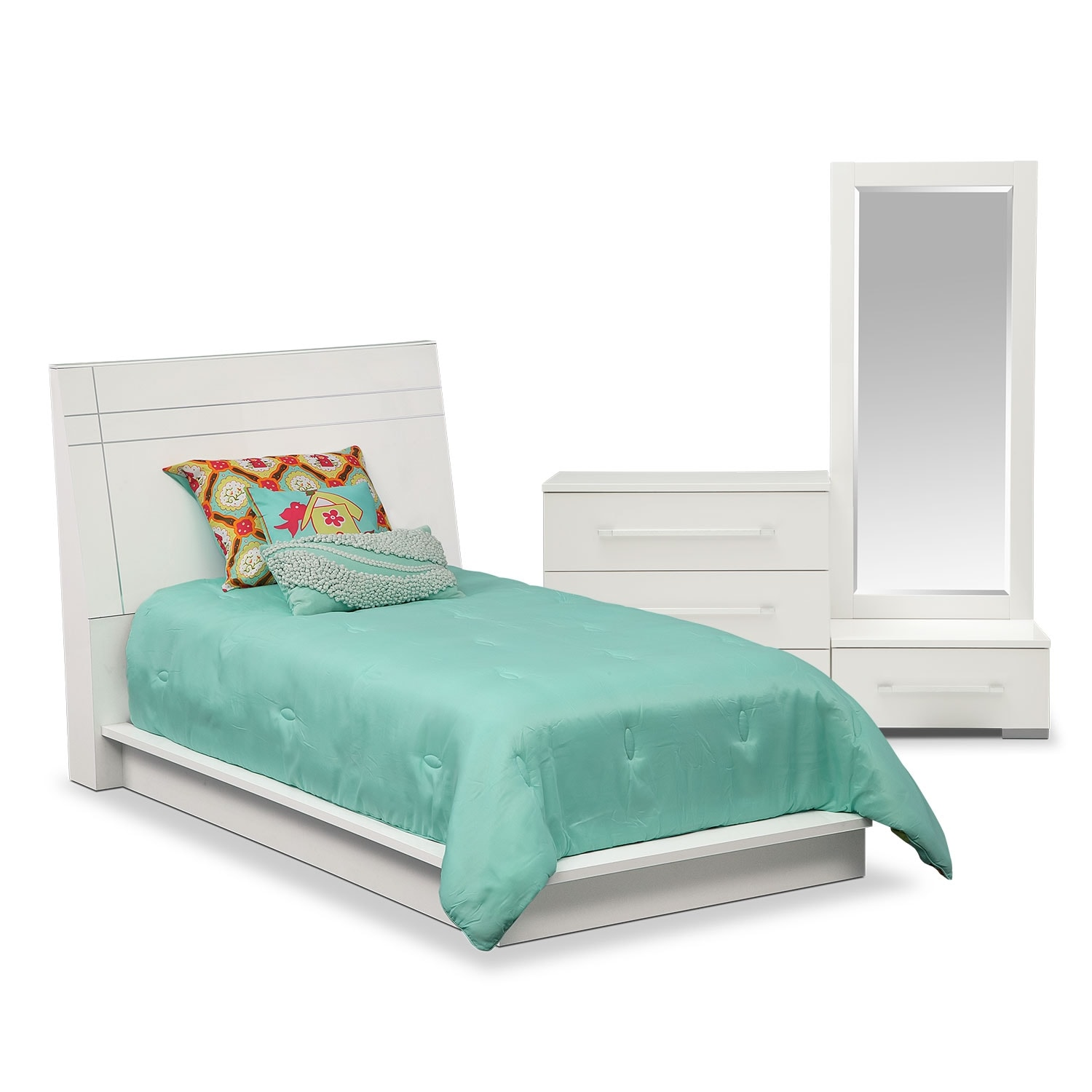 Dimora 5-Piece Twin Panel Bedroom Set - White