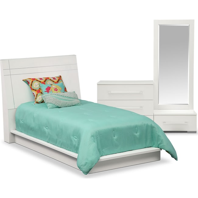Kids Furniture - Dimora 5-Piece Twin Panel Bedroom Set - White