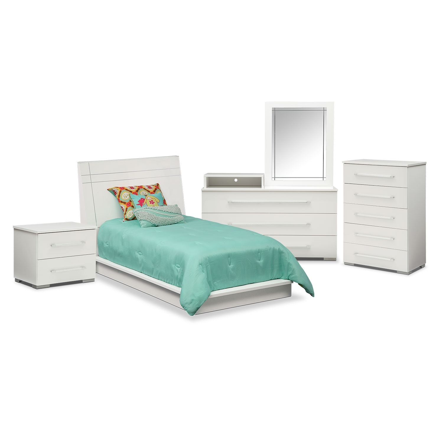 Bedroom Furniture - Dimora 7-Piece Twin Panel Bedroom Set with Media Dresser - White