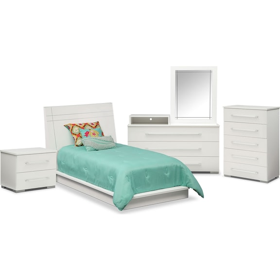 The Dimora Panel Collection White Value City Furniture And Mattresses