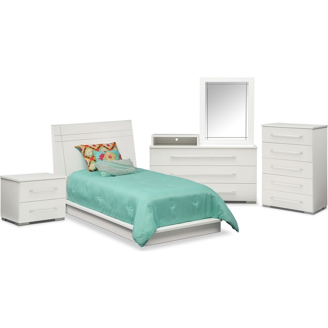 Kids Furniture - Dimora 7-Piece Twin Panel Bedroom Set with Media Dresser - White