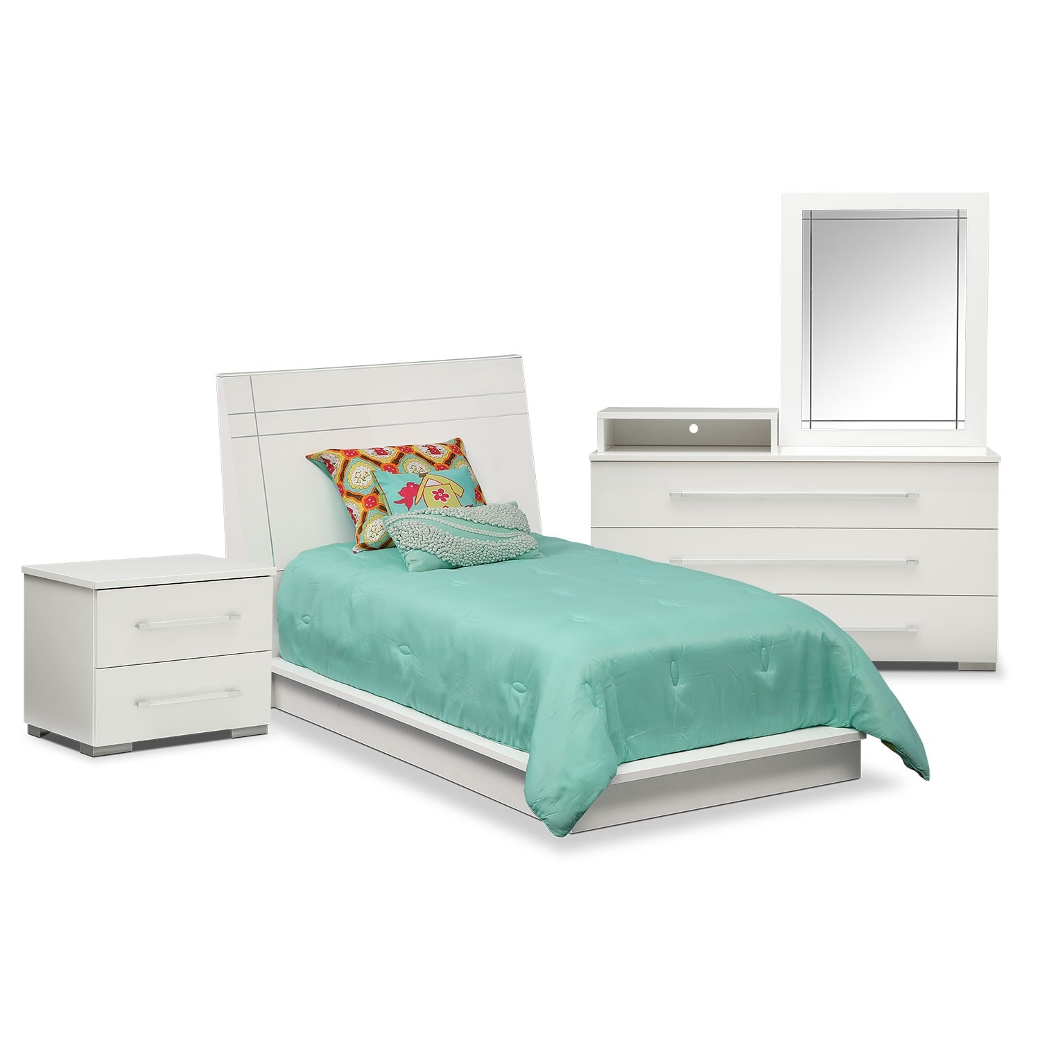 Dimora 6-Piece Twin Panel Bedroom Set with Media Dresser - White