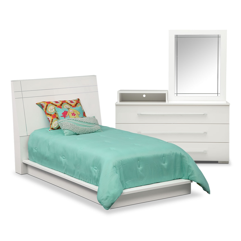 Dimora Piece Twin Panel Bedroom Set With Media Dresser White - Media dresser for bedroom