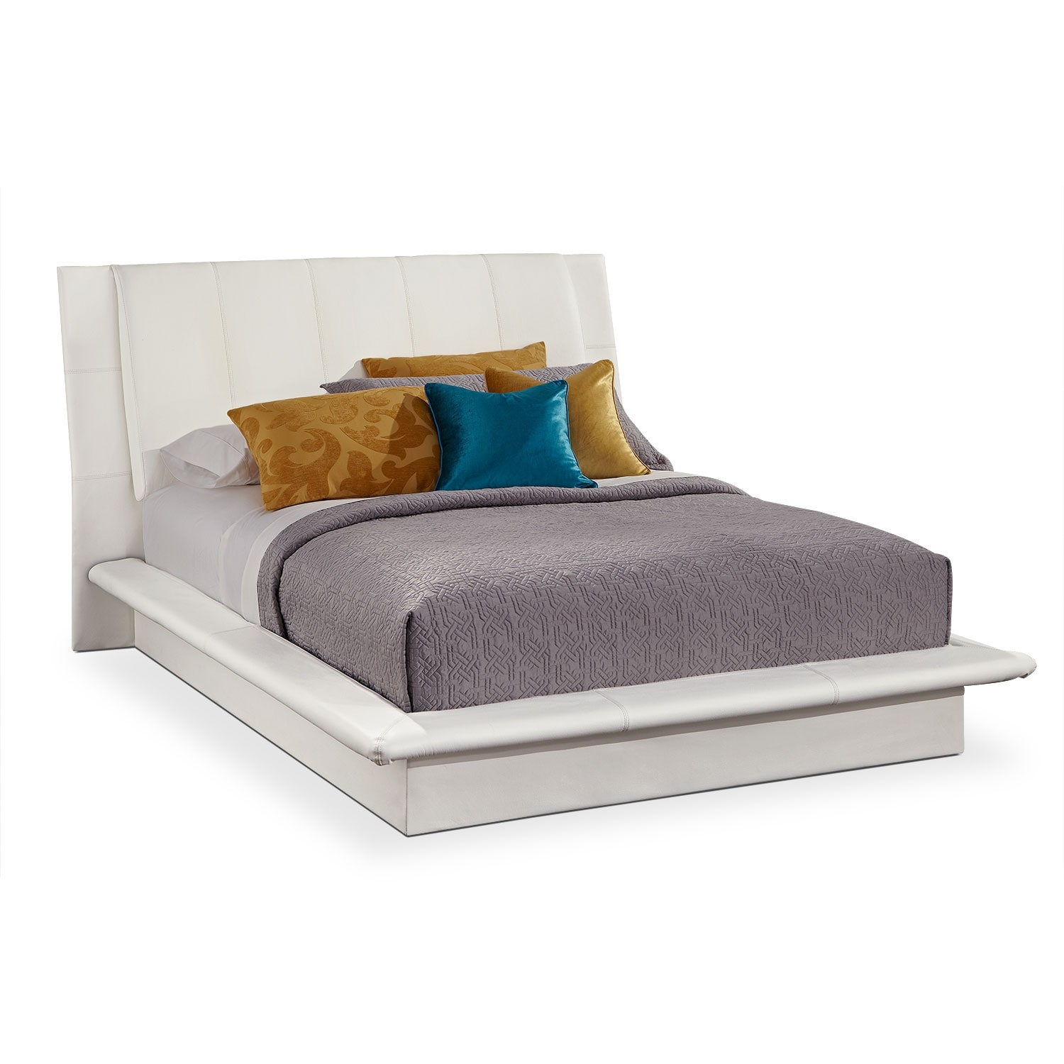 dimora queen upholstered bed white by factory outlet