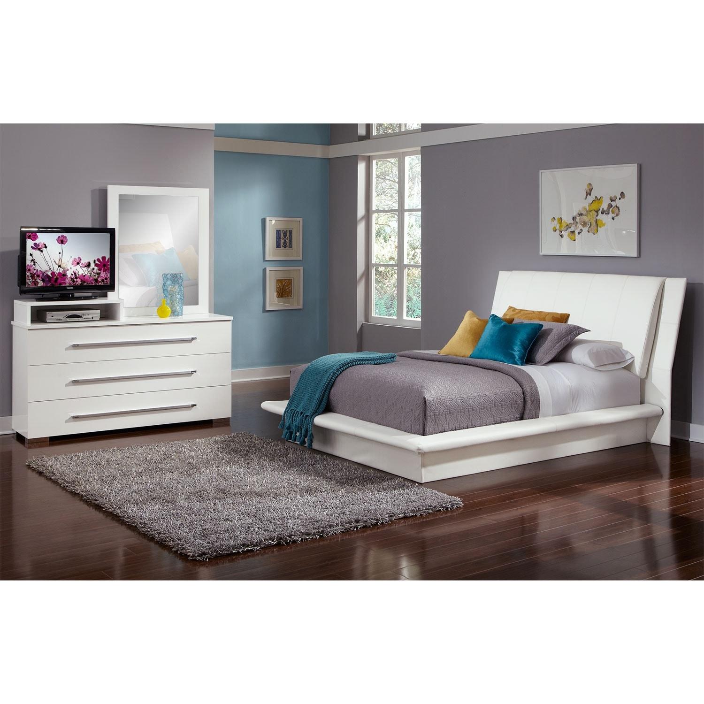 Bedroom Furniture - Dimora White 5 Pc. Queen Bedroom
