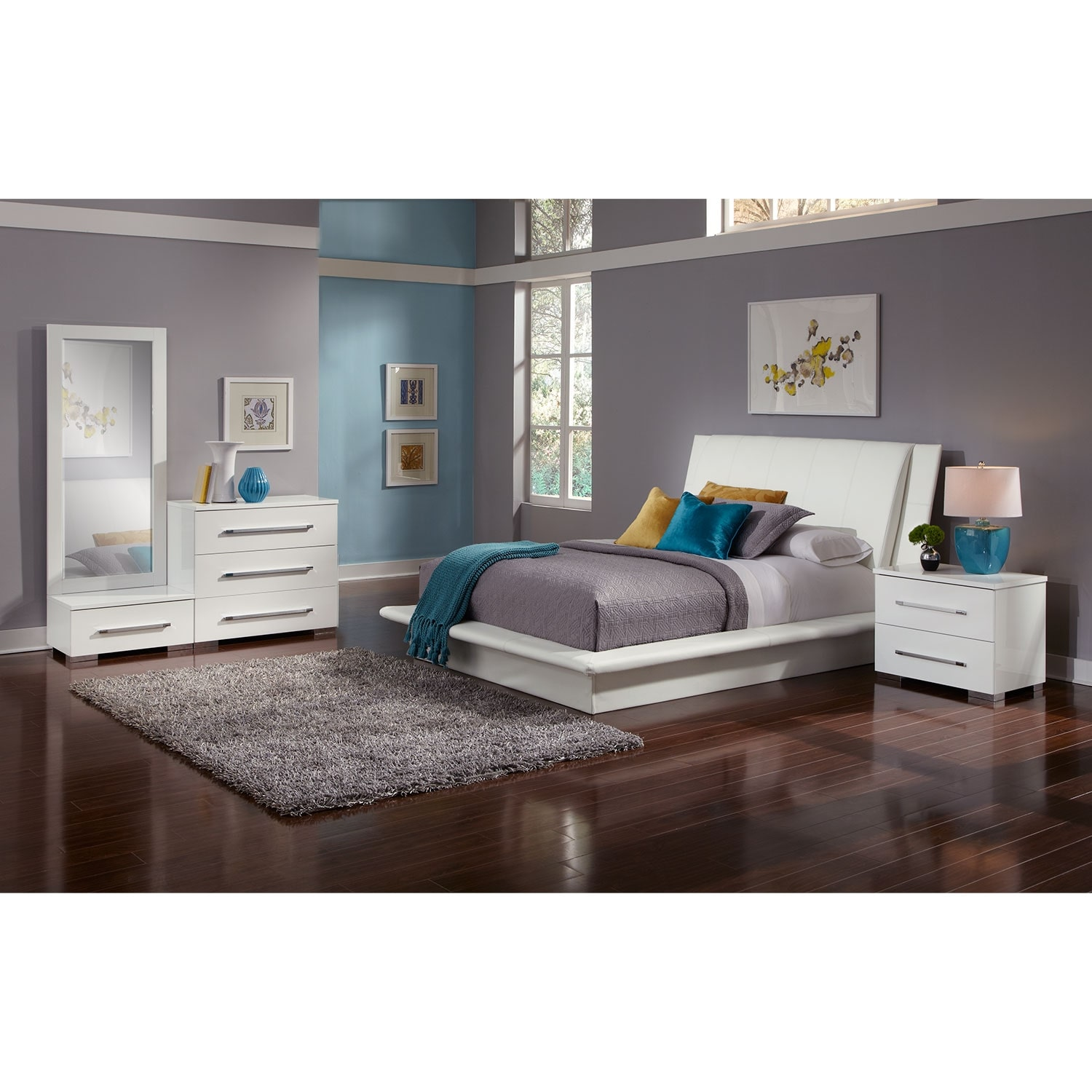 Dimora 6-Piece King Upholstered Bedroom Set - White