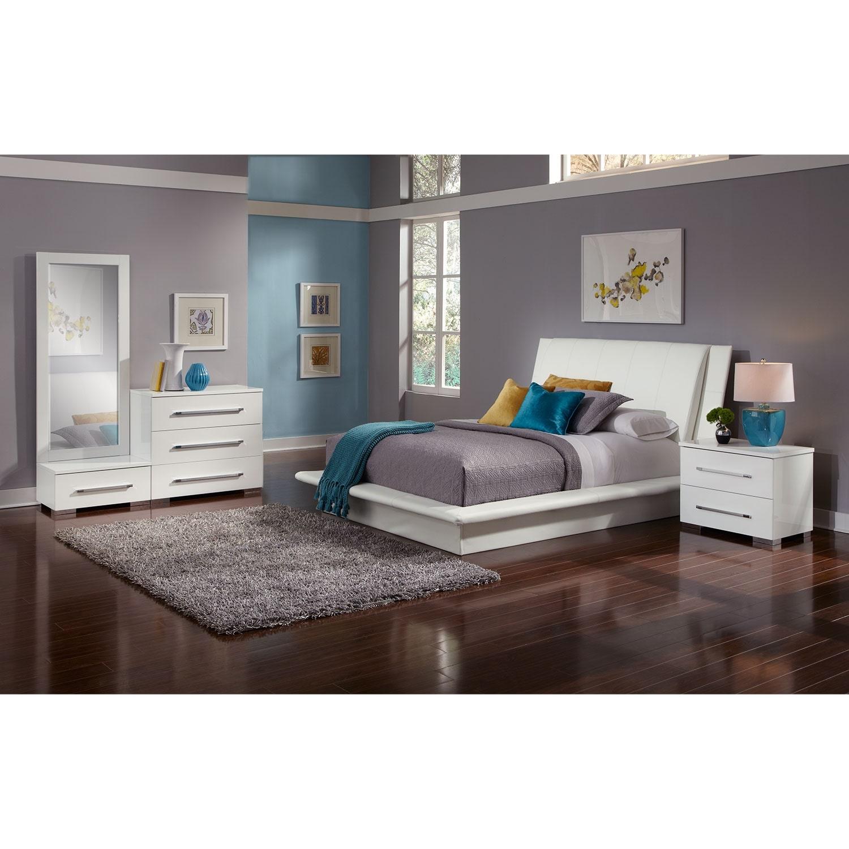 Bedroom Furniture - Dimora 6-Piece King Upholstered Bedroom Set - White