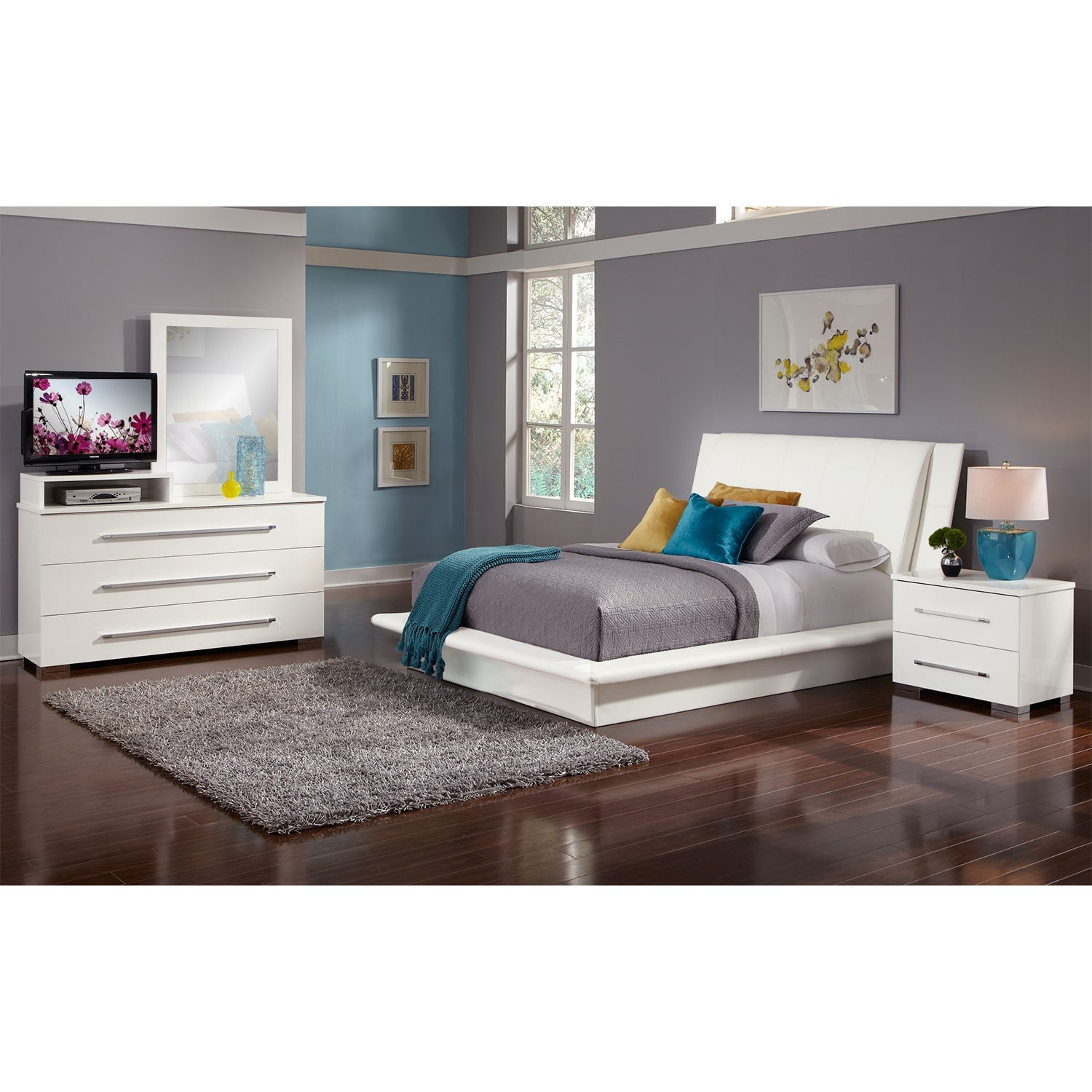 Bedroom Furniture - Dimora 6-Piece King Upholstered Bedroom Set with Media Dresser - White