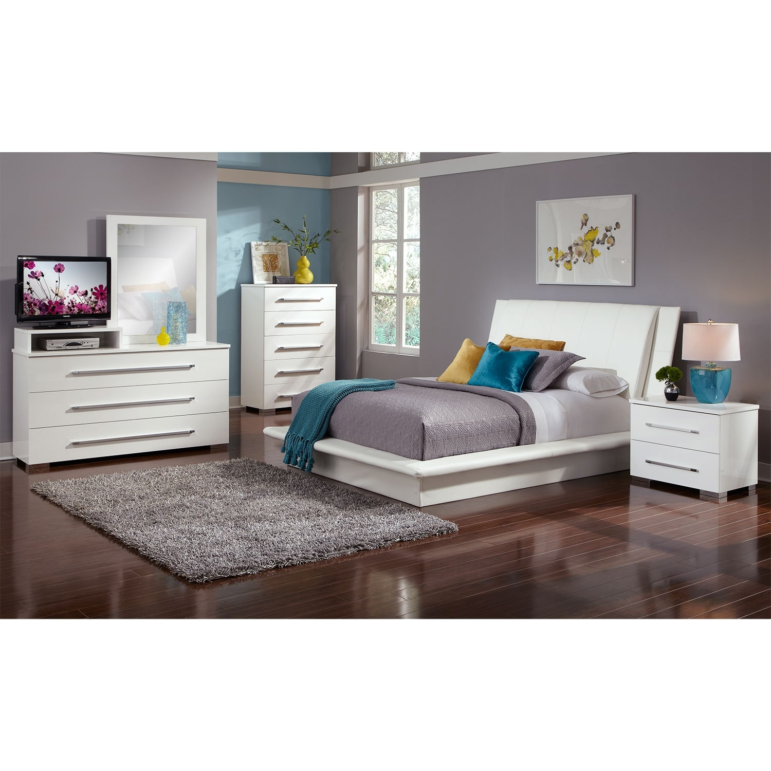 Dimora 7-Piece King Upholstered Bedroom Set with Media Dresser - White