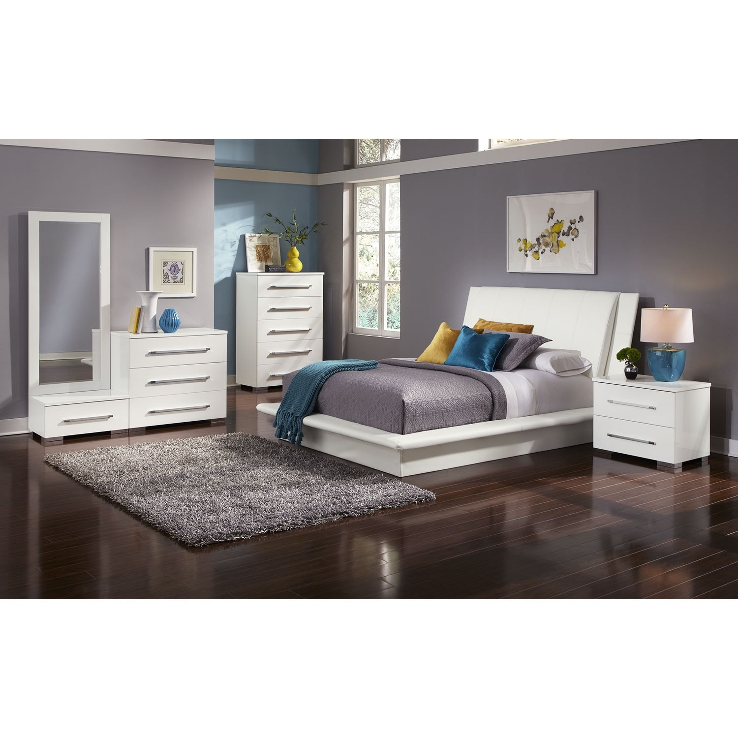 Bedroom Furniture - Dimora 7-Piece King Upholstered Bedroom Set - White