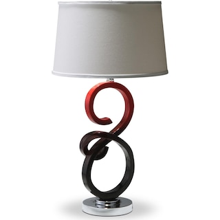 Black and Red Swirl Table Lamp