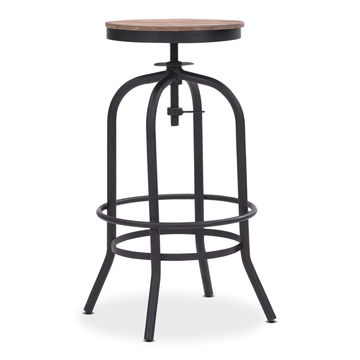 Dining Room Furniture - Elston Adjustable Backless Barstool - Antiqued Black