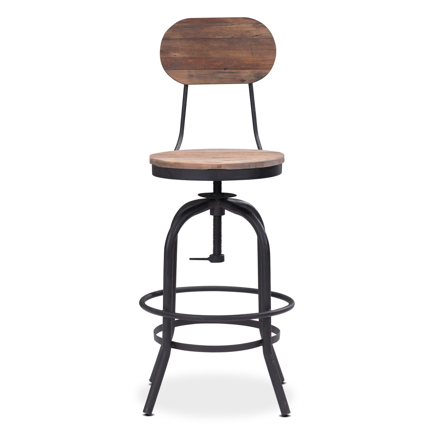 Elston Adjustable Counter Height Stool Antiqued Black Value City Furniture And Mattresses