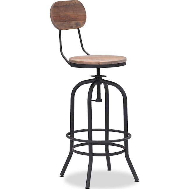 Dining Room Furniture - Elston Adjustable Barstool - Antiqued Black