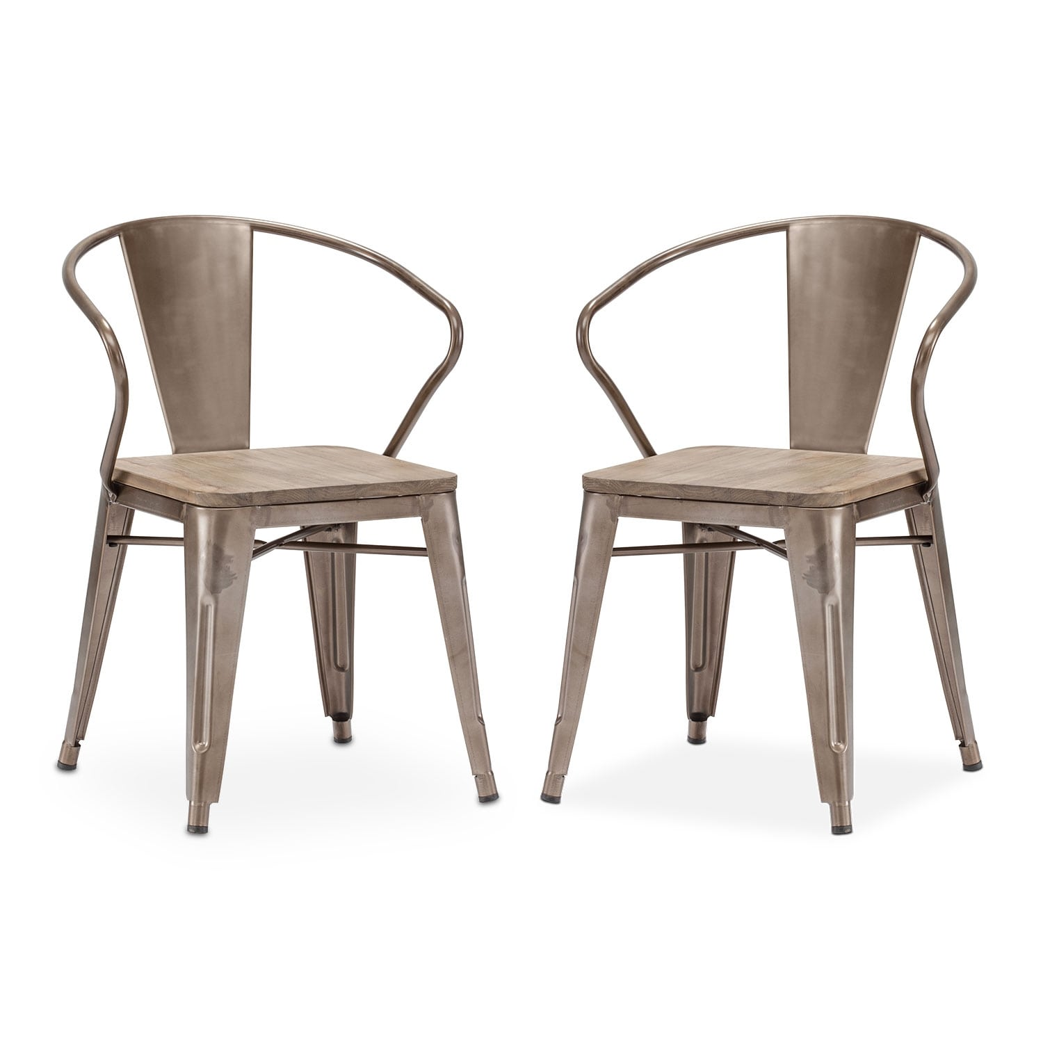 Rustica 2-Pack Arm Chairs - Steel
