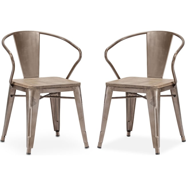 Dining Room Furniture - Rustica 2-Pack Arm Chairs - Steel