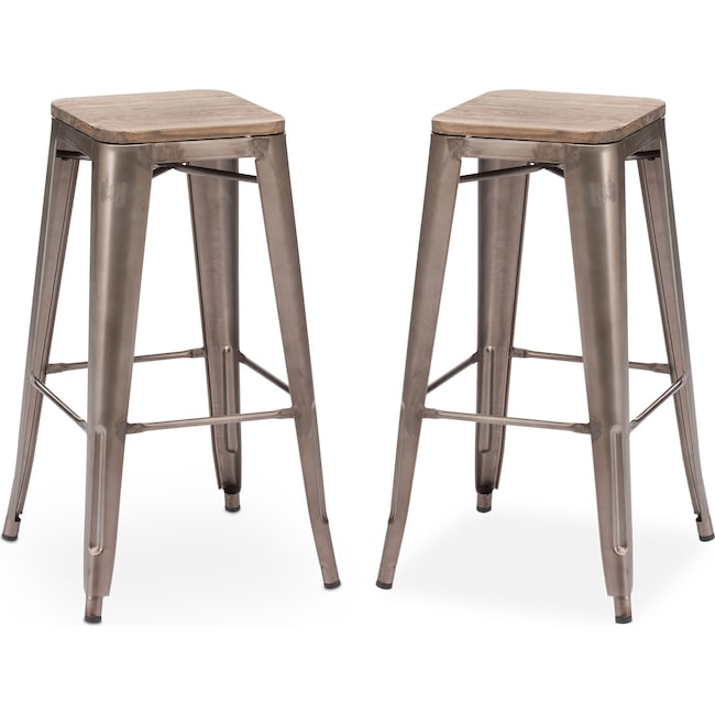 Dining Room Furniture - Rustica 2-Pack Barstools - Steel