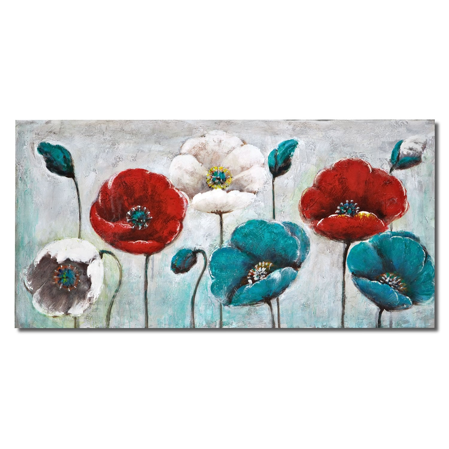 Blue Poppy Canvas Print Value City Furniture And Mattresses