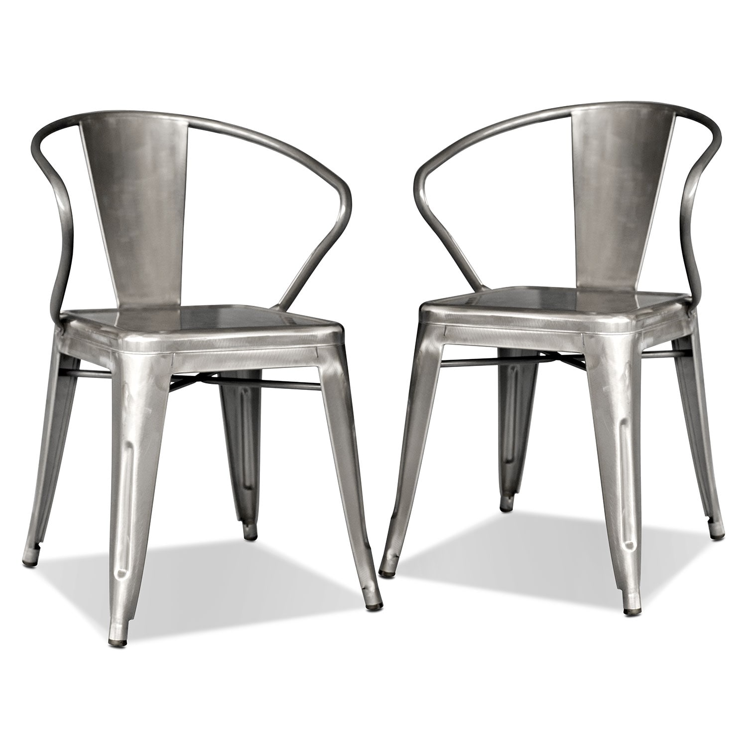 Dining Room Furniture - Squadron 2-Pack Arm Chairs - Polished Steel