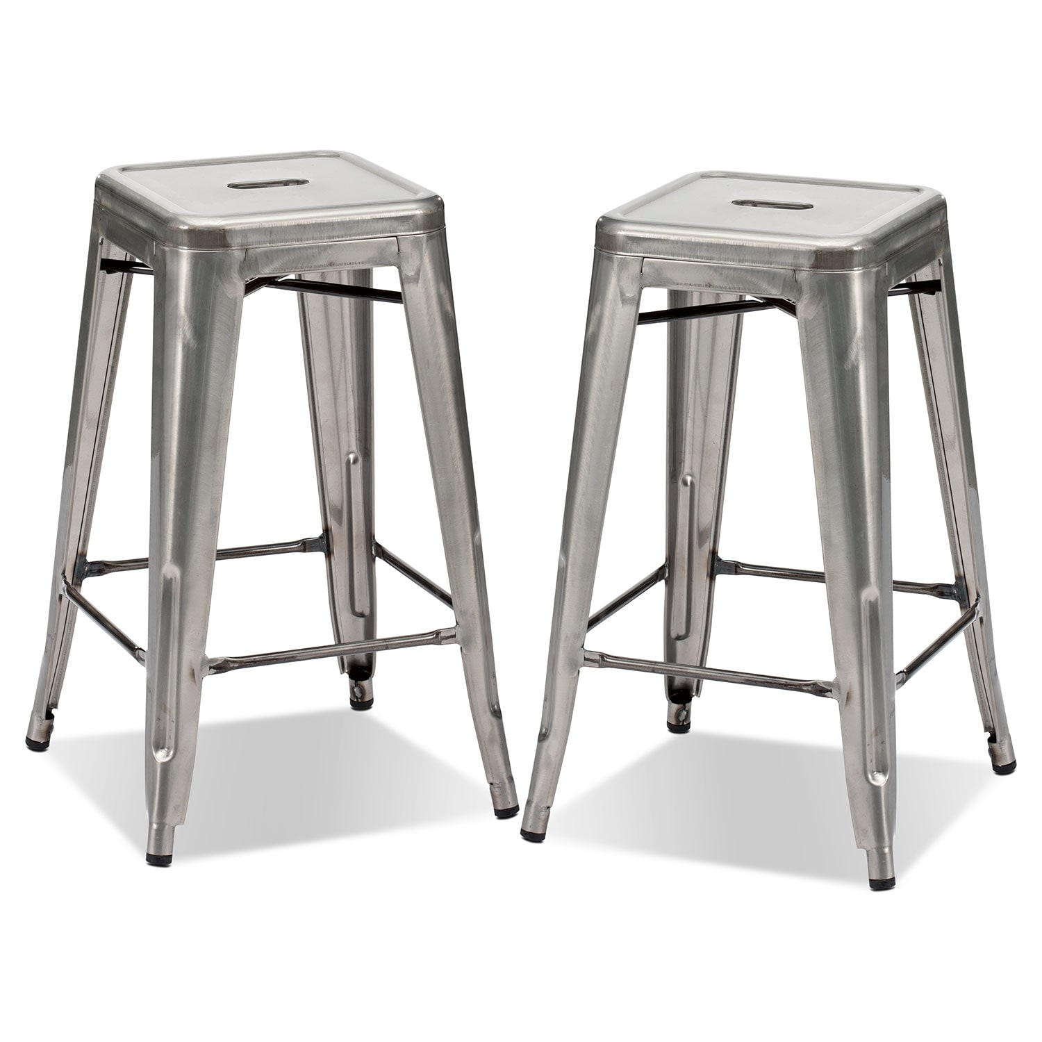 Dining Room Furniture - Squadron 2-Pack Counter-Height Stools - Polished Steel