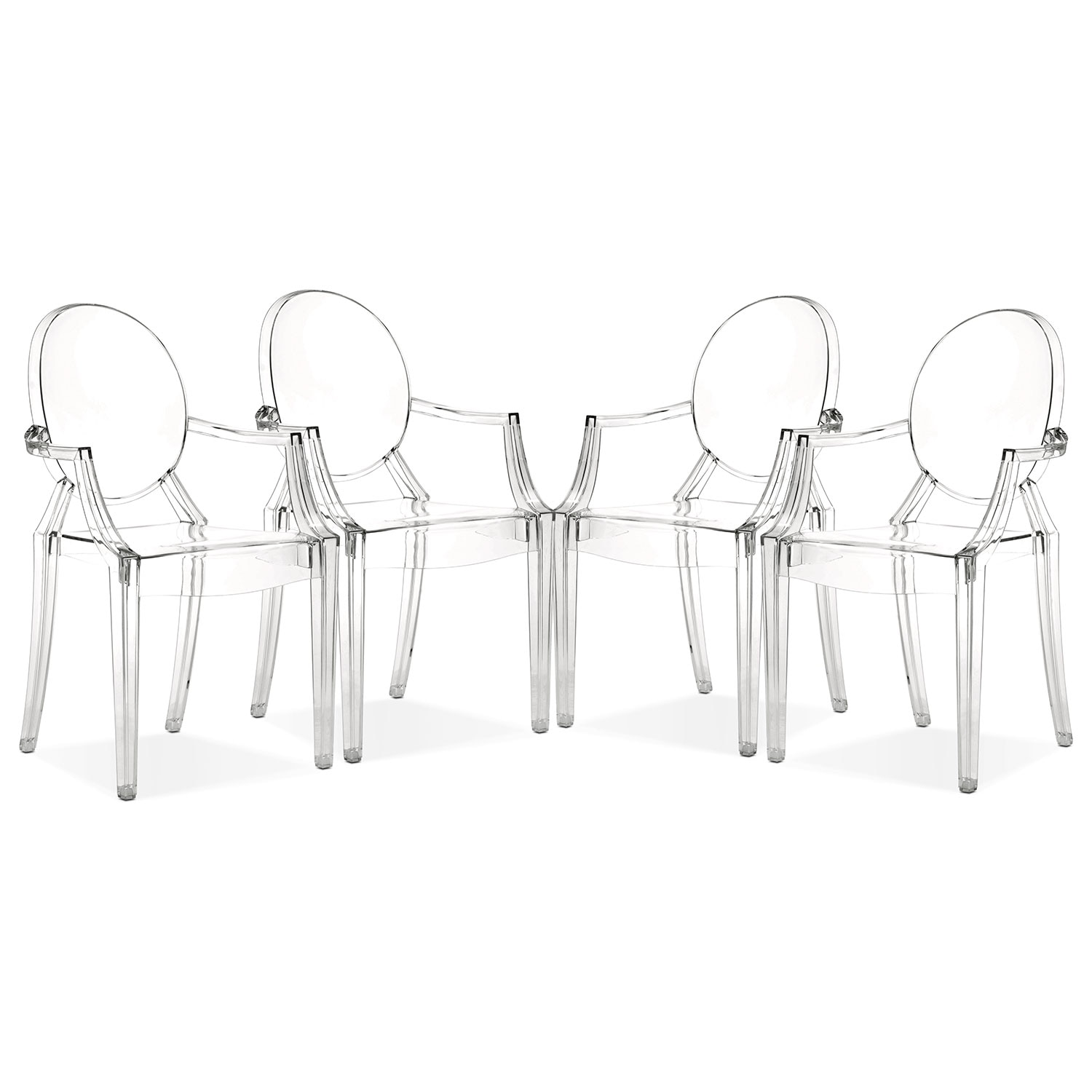 Dining Room Furniture - Lucid 4-Pack Arm Chairs - Clear