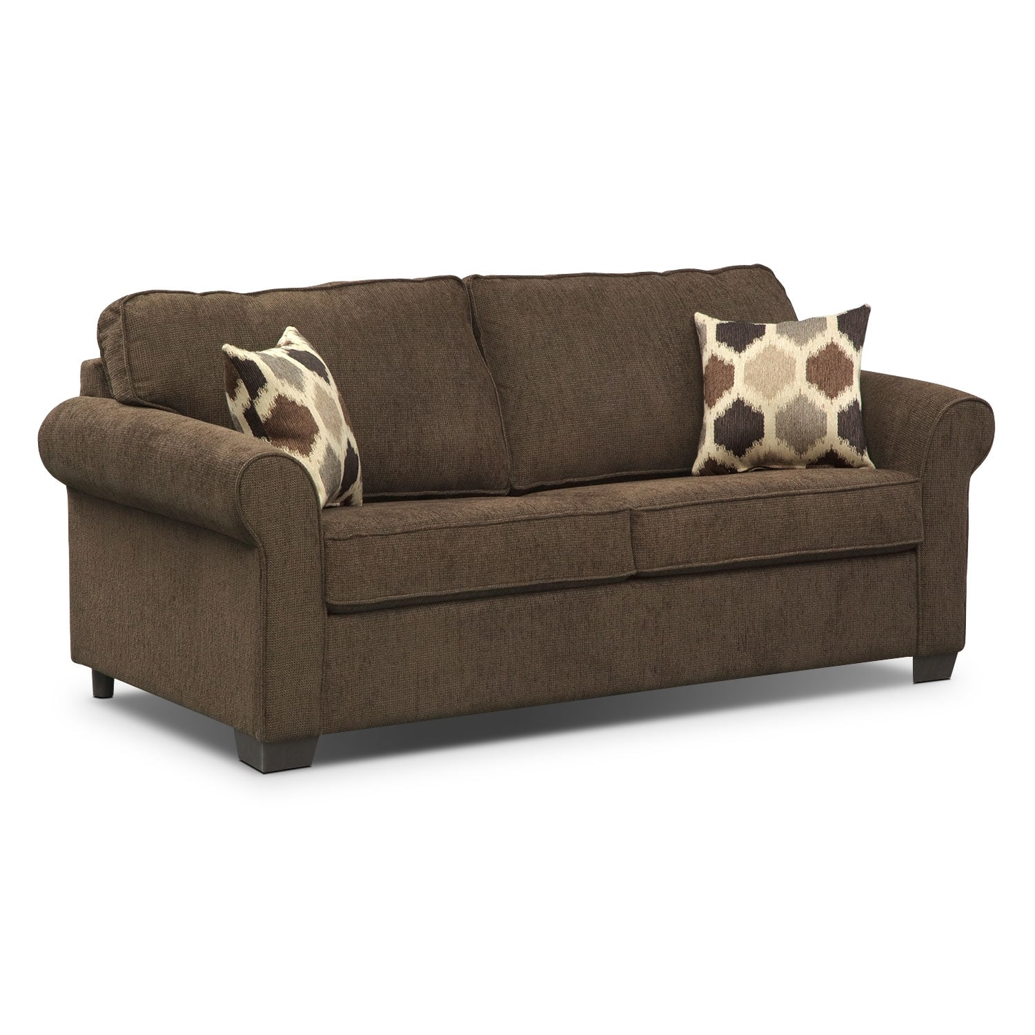 Living Room Furniture - Fletcher Full Memory Foam Sleeper Sofa - Chocolate