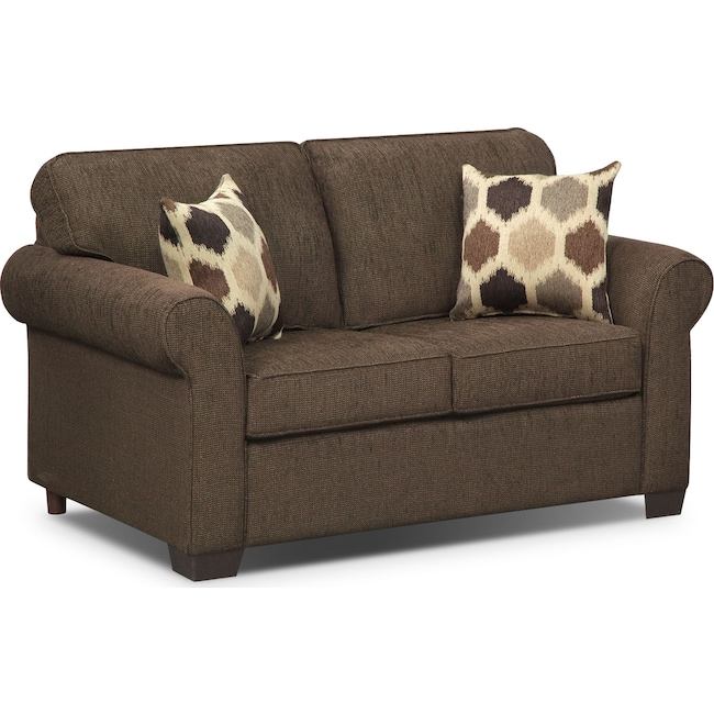 Living Room Furniture - Fletcher Twin Innerspring Sleeper Sofa - Chocolate