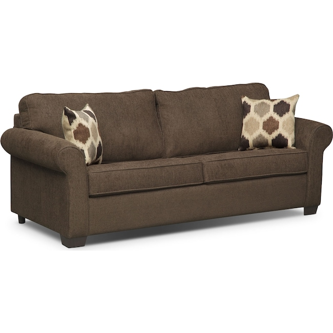 Living Room Furniture - Fletcher Queen Innerspring Sleeper Sofa - Chocolate