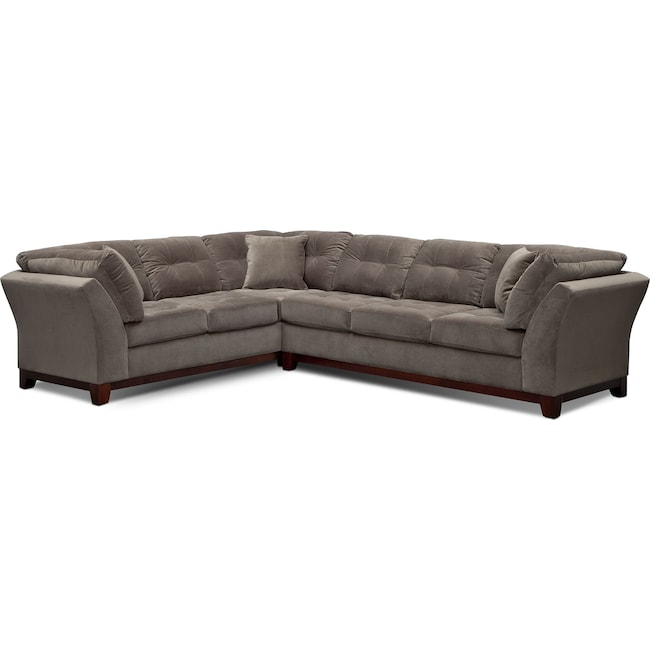 Living Room Furniture - Sebring 2-Piece Sectional with Right-Facing Sofa - Gray