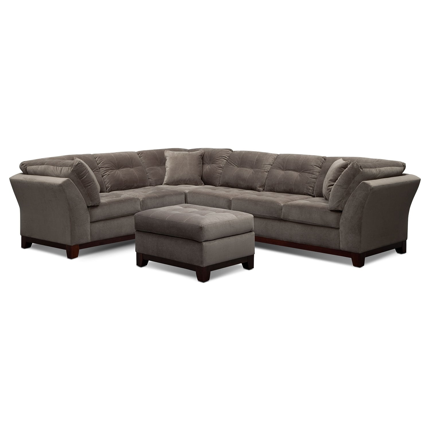 Living Room Furniture - Solace Gray II 2 Pc. Sectional and Ottoman