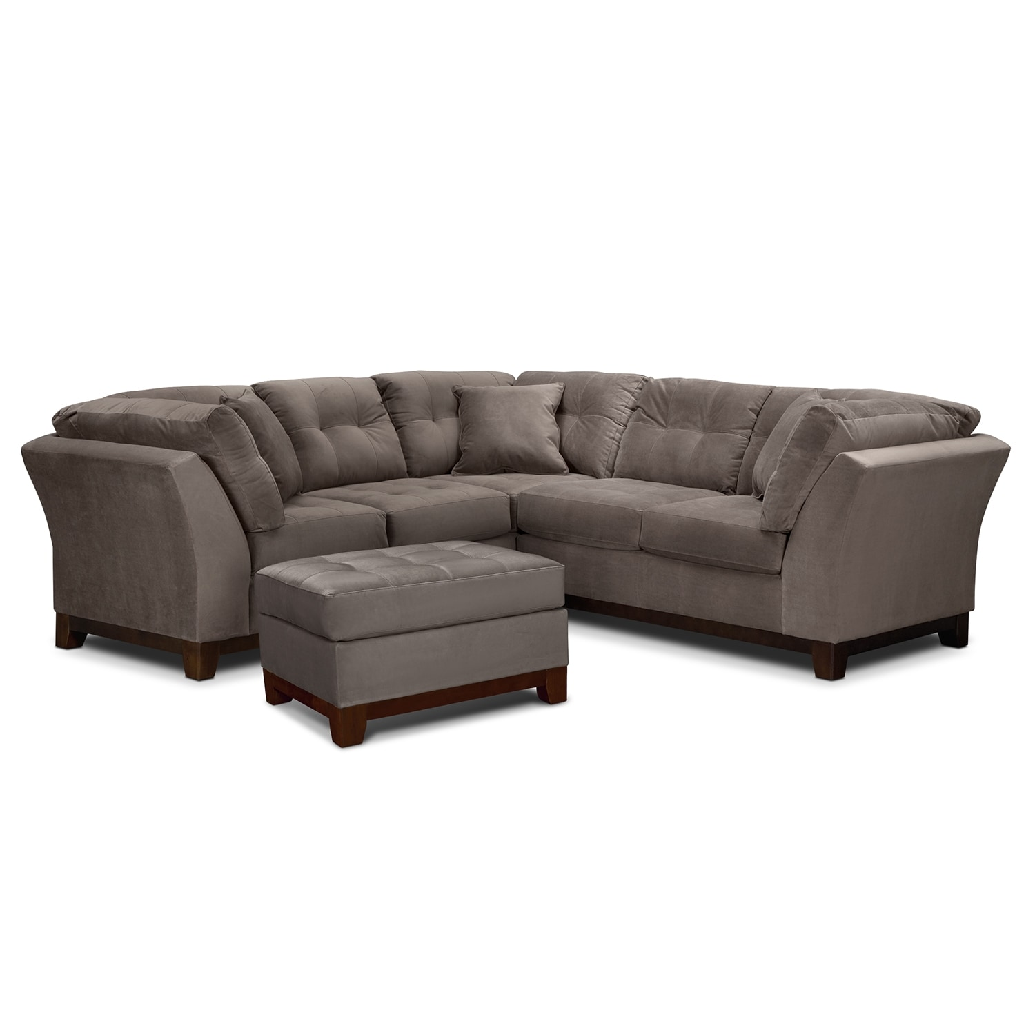 Living Room Furniture - Solace Gray II 2 Pc. Sectional (Alternate II) and Ottoman