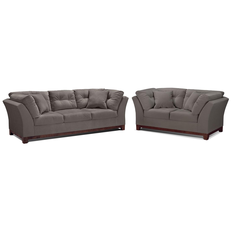 Living Room Furniture - Sebring Sofa and Loveseat Set - Gray