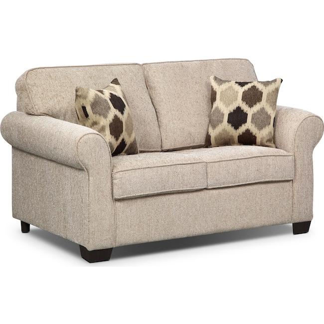Living Room Furniture - Fletcher Twin Memory Foam Sleeper Sofa - Beige