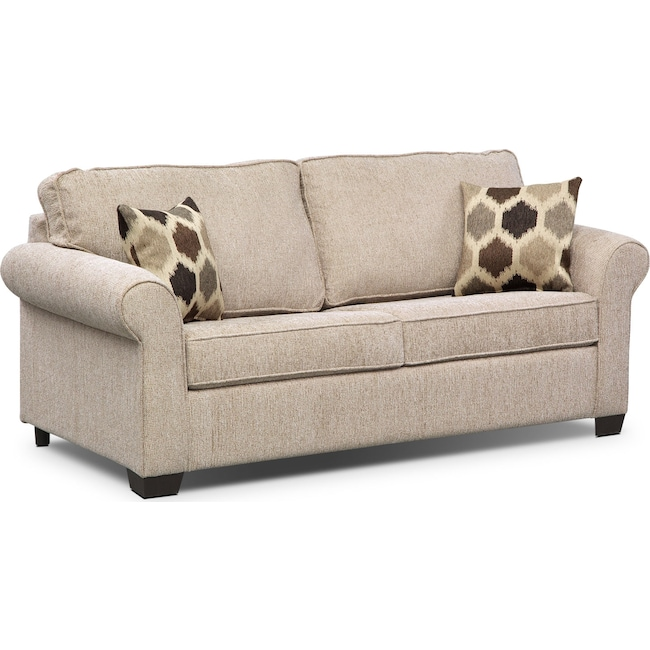 Living Room Furniture - Fletcher Full Memory Foam Sleeper Sofa - Beige