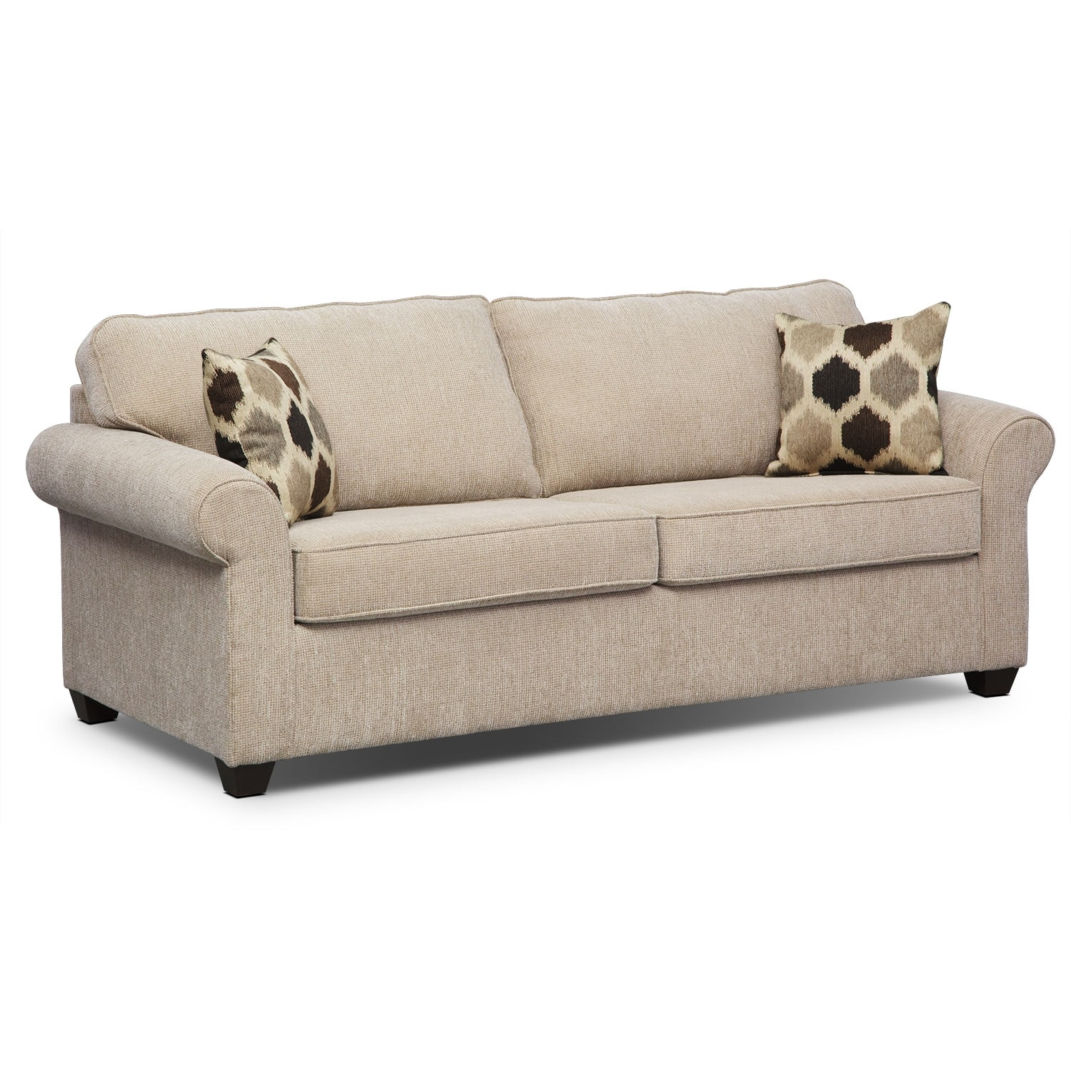 Living Room Furniture - Fletcher Queen Memory Foam Sleeper Sofa - Beige