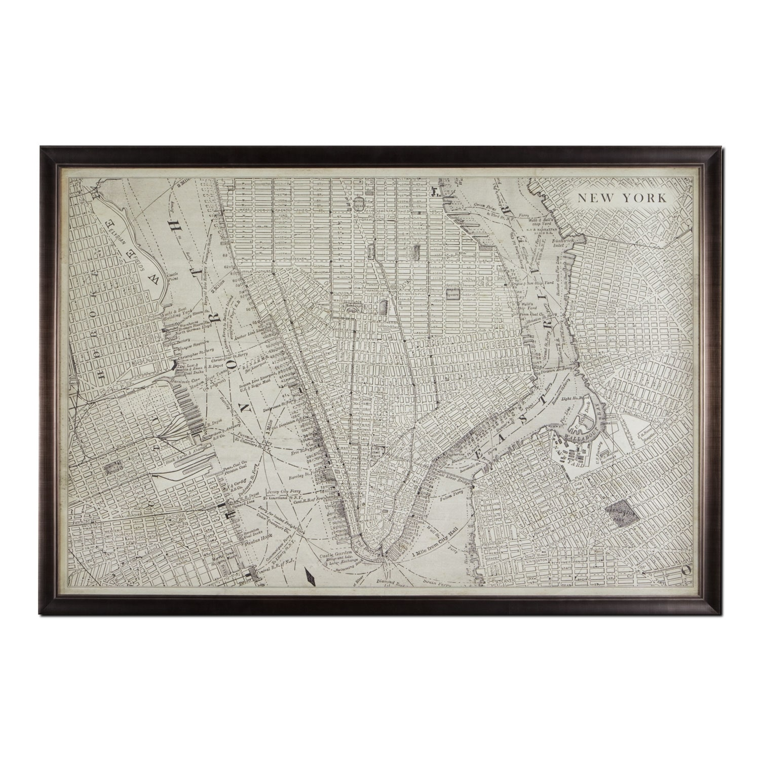 Map Of Nyc Framed Print Value City Furniture