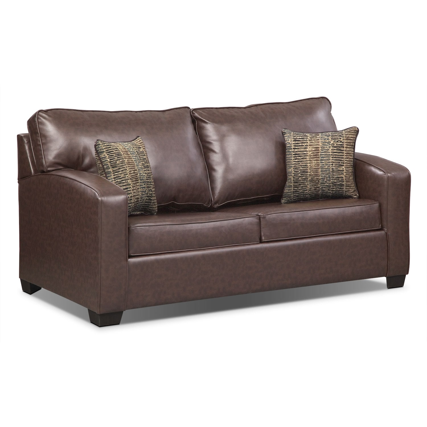 Living Room Furniture - Brookline Full Memory Foam Sleeper Sofa - Brown